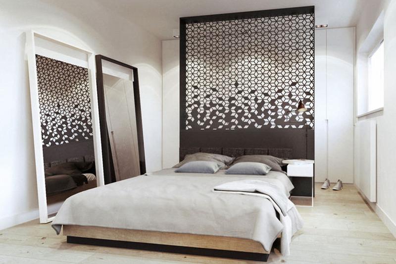 Inspirująca ściana nad łóżkiem | proj. razoo-architekci