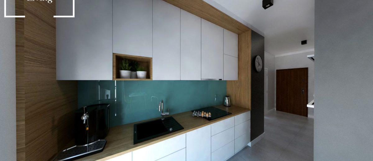 Projekt mieszkania na osiedlu Fi kuchnia
