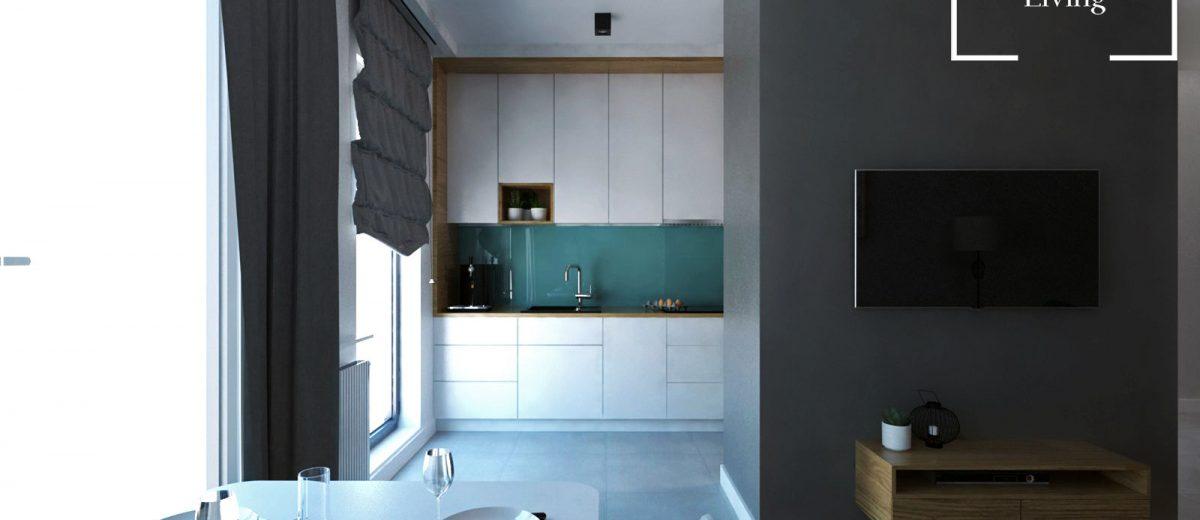 Projekt mieszkania na osiedlu Fi jadalnia
