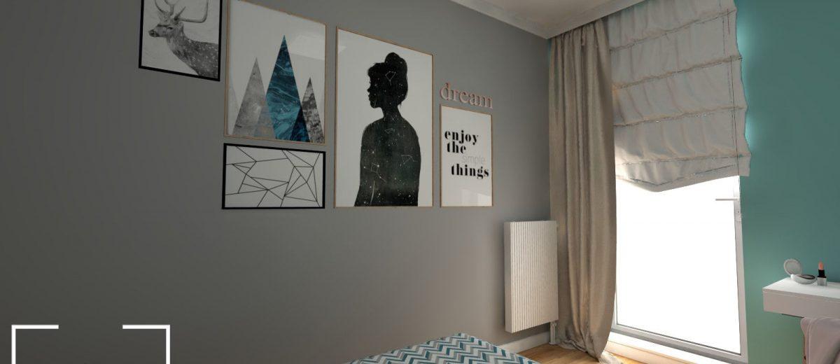 Projekt mieszkania na osiedlu Fi sypialnia
