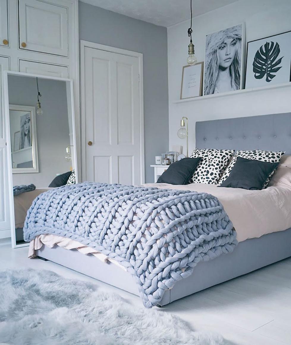 Grubo plecione koce idealnie prezentują się w sypialni | restnova.com