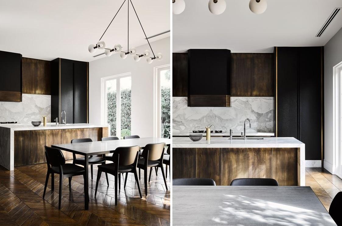 Marmurowe płytki na ścianach w kuchni