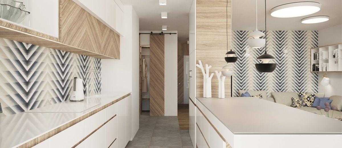 Chevron ściana w kuchni