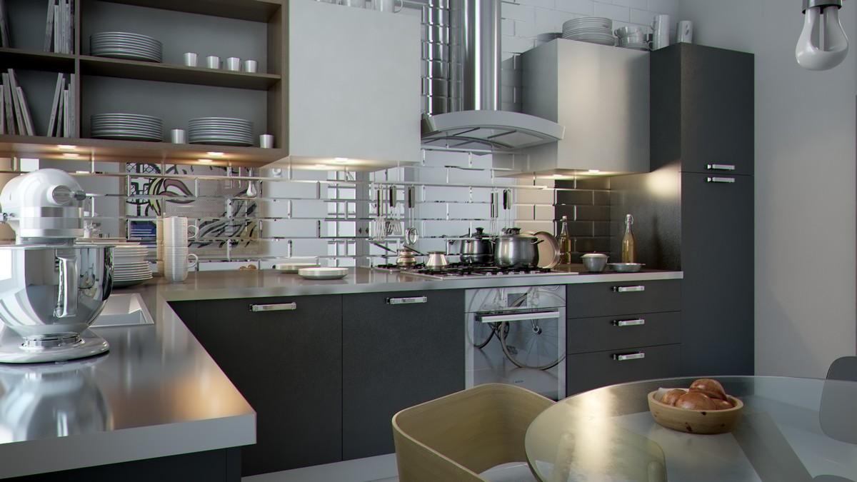 lustrzane p�ytki na ścianie w kuchni