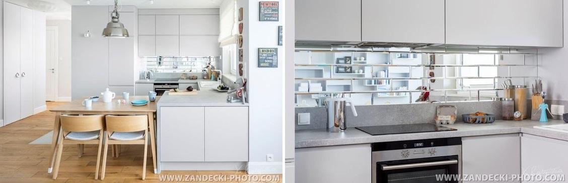 Biała kuchnia z płytkami lustrzanymi