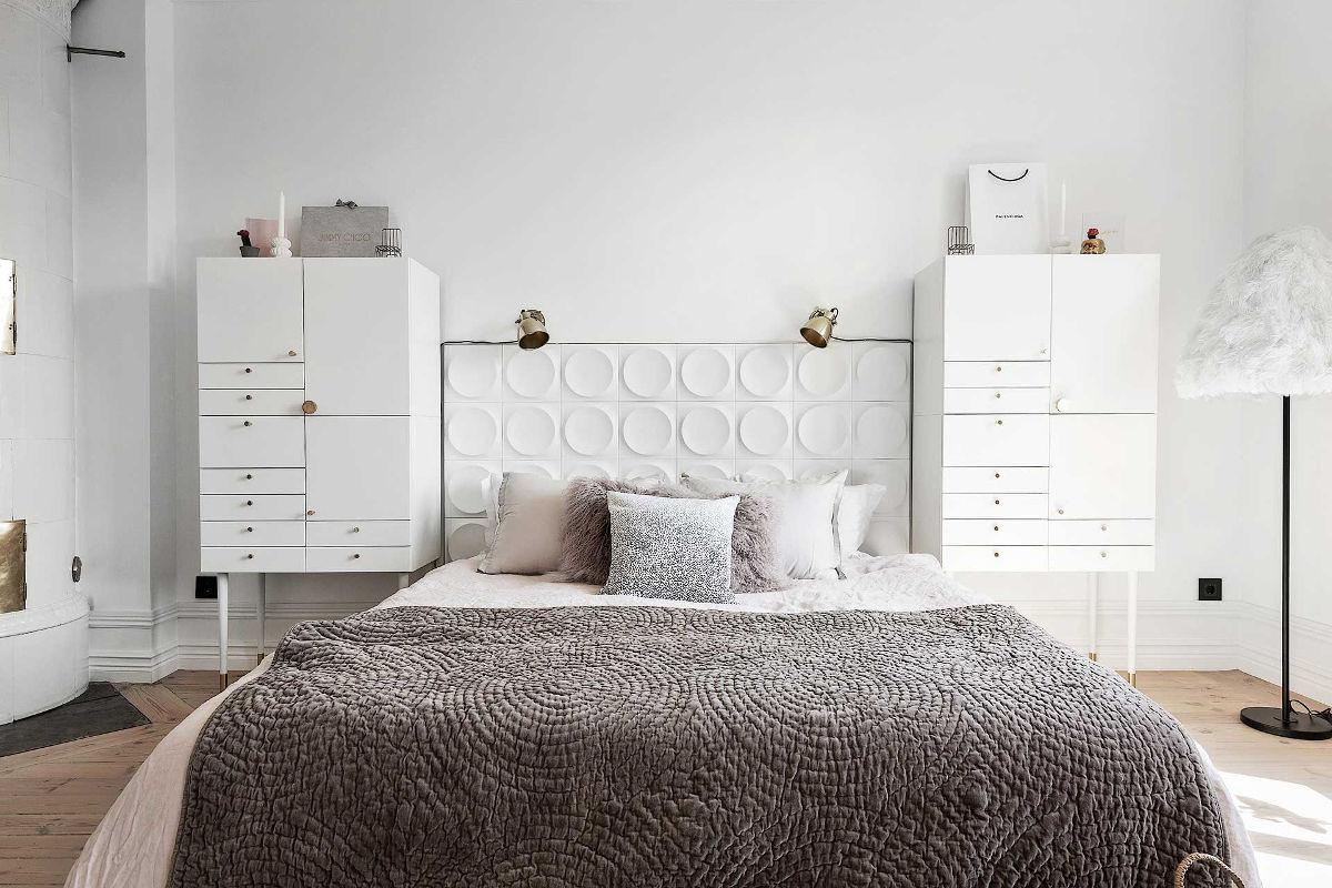 Płytki 3D na ścianie nad łóżkiem od marki WOW - produkt dostępny w naszych showroomach Płytki 3D na ścianie nad łóżkiem od marki WOW - produkt dostępny w naszych showroomach | zdjęcie: WOW Design