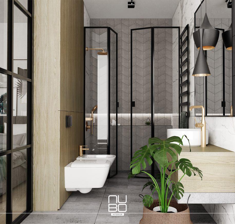 naturalna łazienka z prysznicem