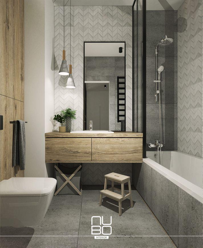 Drewno i szarości w łazience