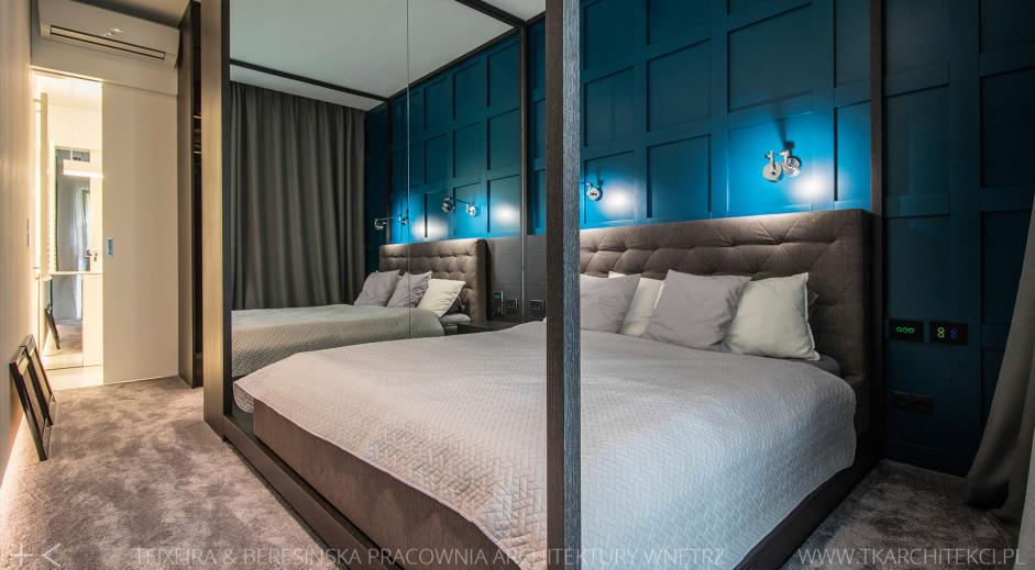 Sypialnia z garderobą | proj. TK Architekci