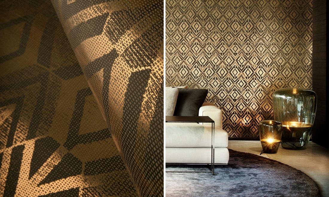 Stonowana tapeta Arte w ciepłym odcieniu złota