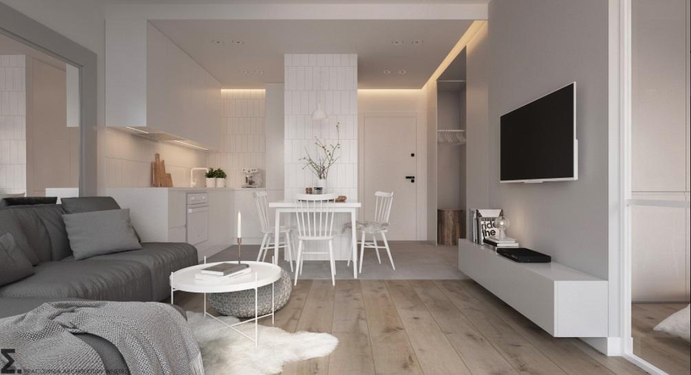 Niewielkie mieszkanie w bieli i szarości