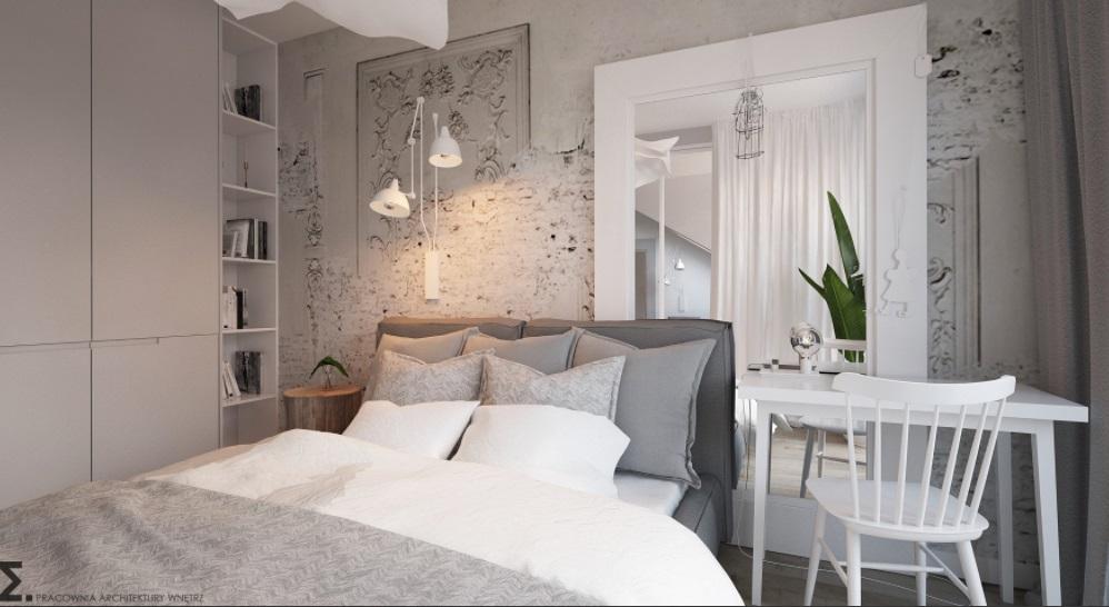 Spokojna i oryginalna sypialnia w szarościach i bieli