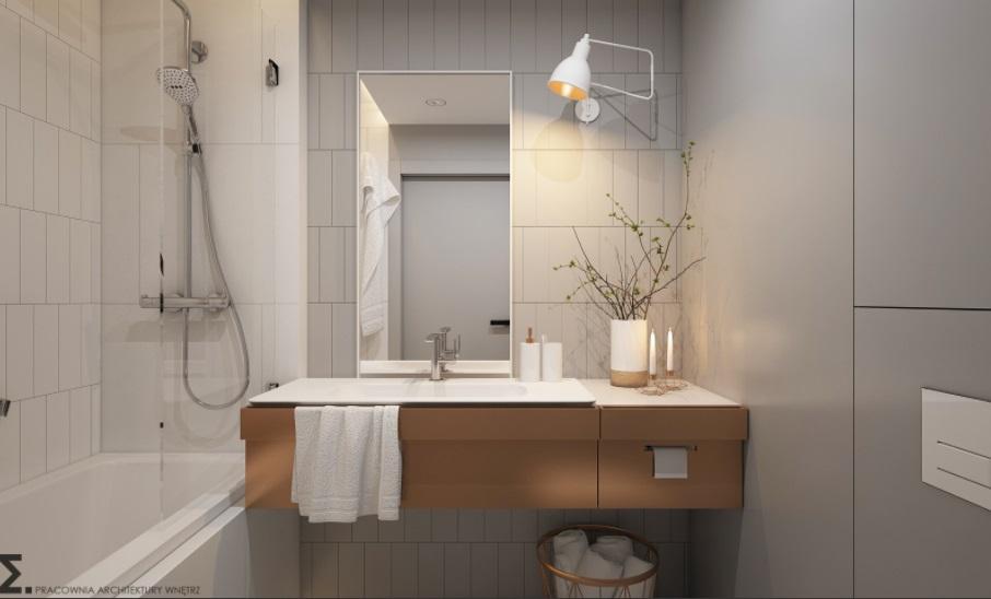 Biało-szaro łazienka w stylu skandynawskim