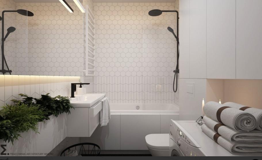Niewielka łazienka w stylu skandynawskim
