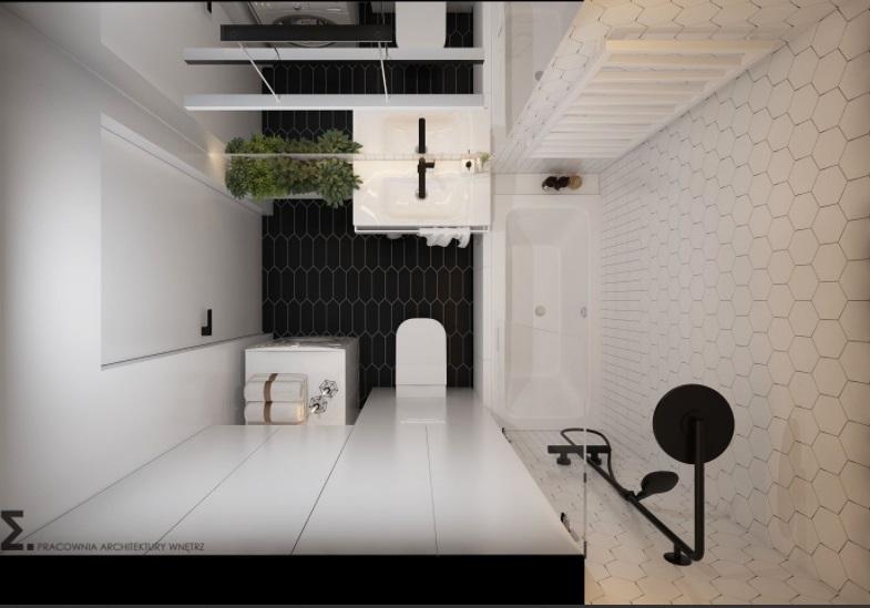Biło czarna łazienka