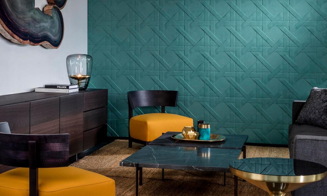 Tapeta Arte w modnym odcieniu zieleni tworzy całą stylizację! - zapytaj o ten produkt w naszych salonach!