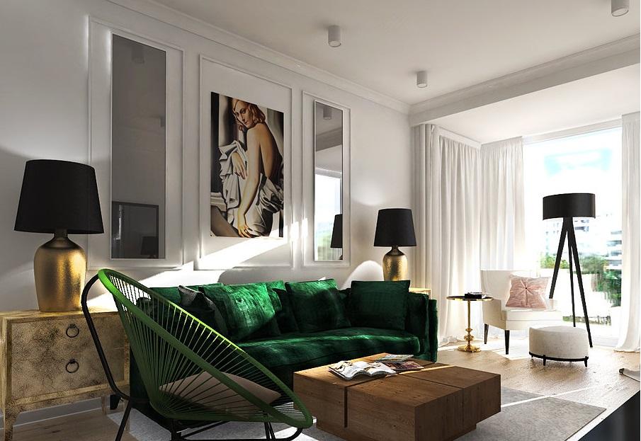 Sofa w kolorze butelkowej zieleni - jest boska, prawda? (projekt wnętrza Zaza Studio)