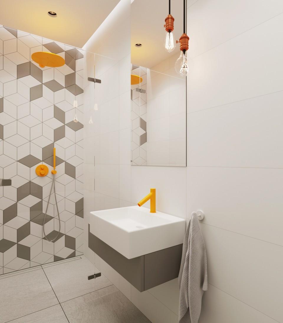 Łazienka z geometrycznymi z płytkami od Mutiny | PROJ. 081 ARCHITEKCI