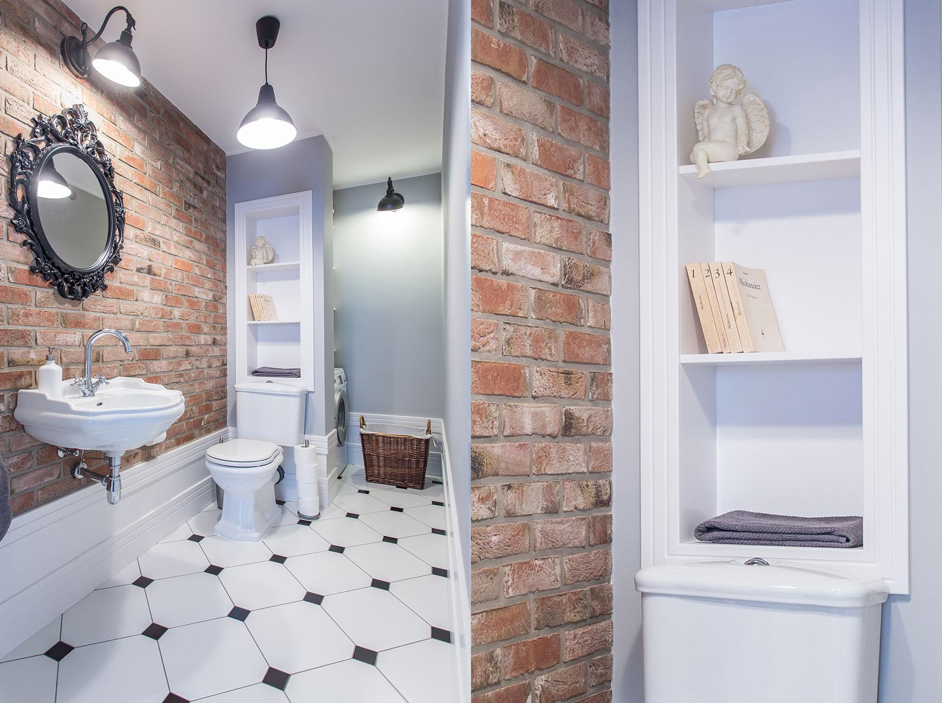 Łazienka w stylu retro ze ścianą z czerwonej cegły | proj. emDesign
