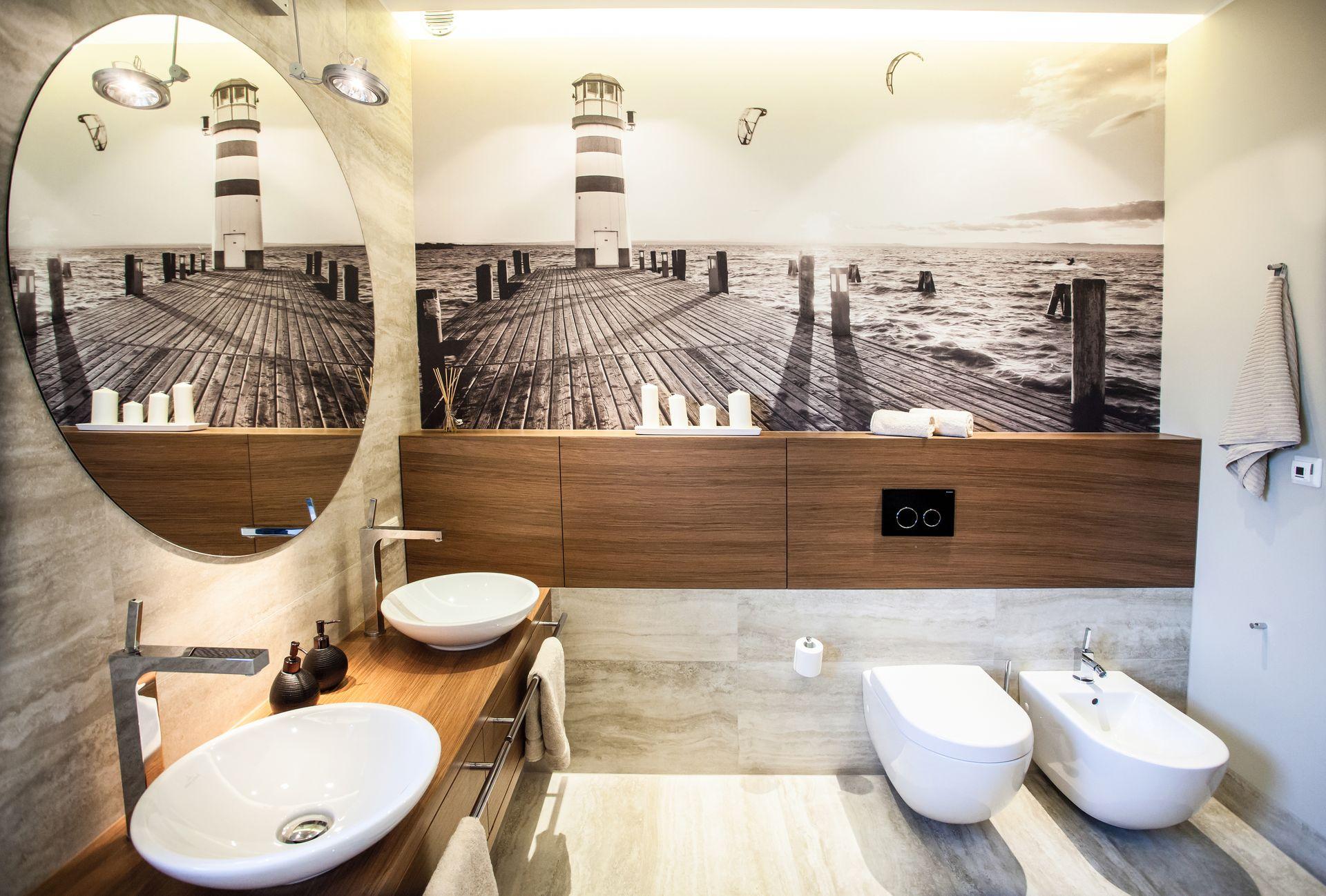 Dwie umywalki w jednej łazience | proj. emDesign
