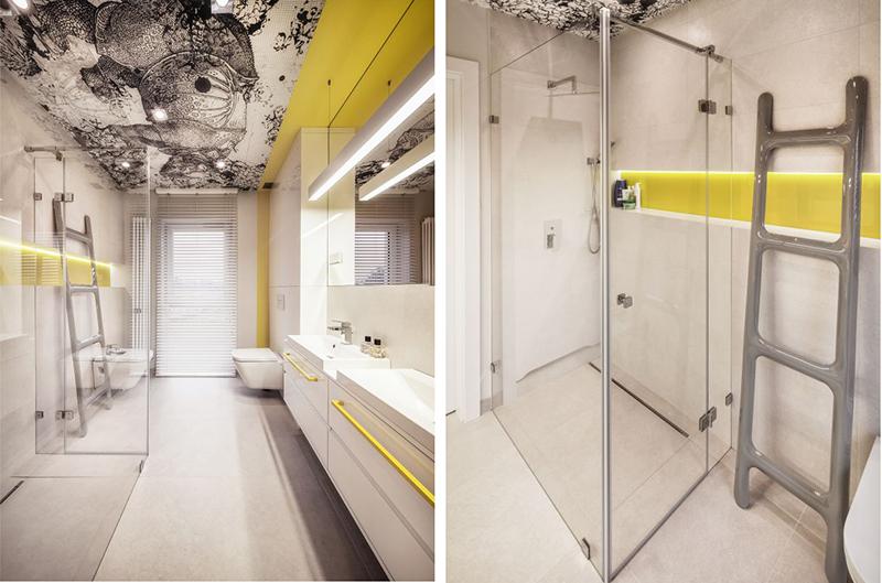 Żółte akcenty kolorystyczne w łazience według projektu KK Architekci