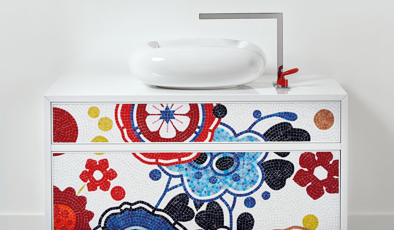 Ciekawa mozaikowa szafka łazienkowa od Bisazzy - dostępna u nas