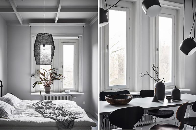 Czarne lampy w skandynawskim wnętrzu