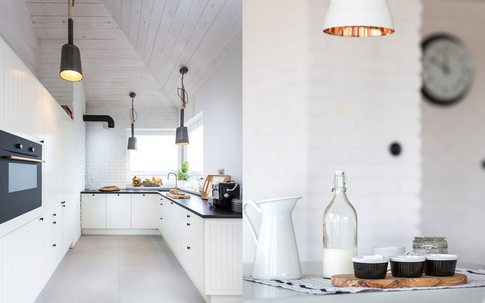 Biała kuchnia z drewna | proj. em Design