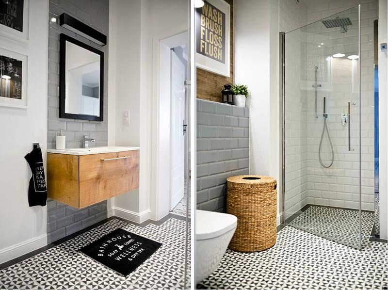 Wzorzysta podłoga w łazience wg. projektu Shoko Desgin
