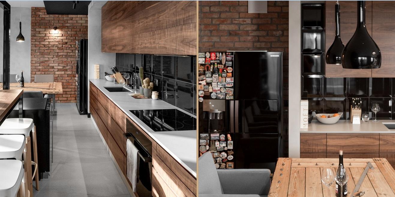 Drewniana kuchnia | proj. Sikora Wnętrza