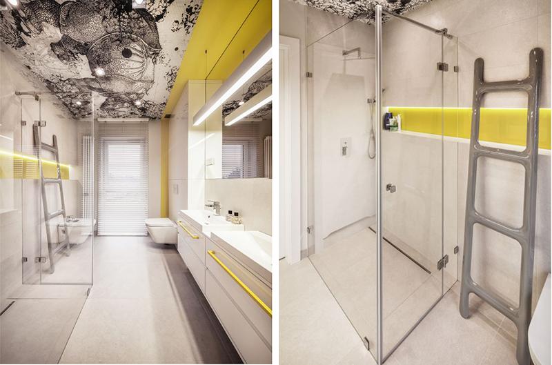 Tapeta od Wall & Deco na suficie w łazience, proj. KK Architekci