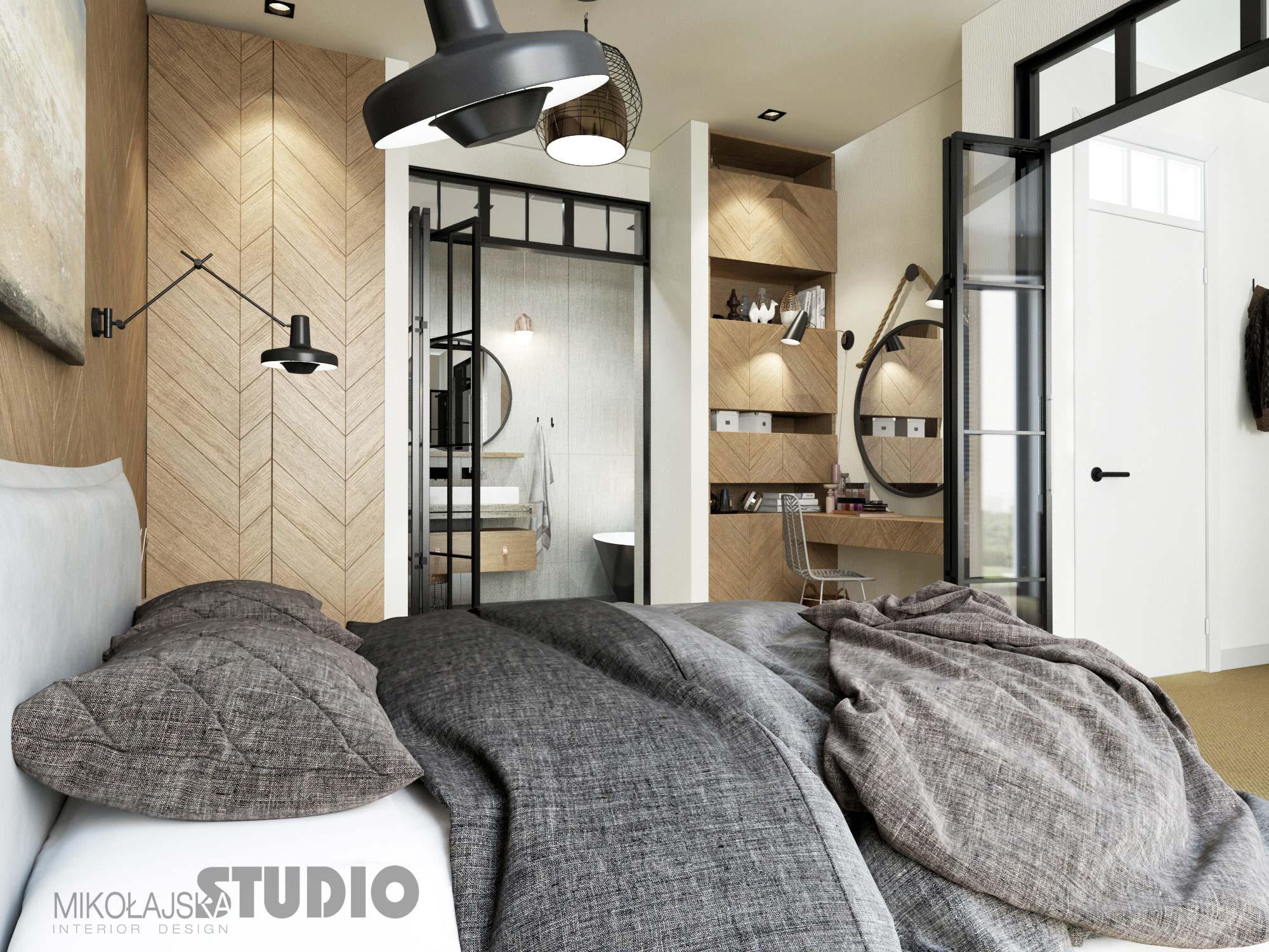 Łazienka w sypialni za szklanymi drzwiami w stylu industrialnym | proj. Mikołajska Studio