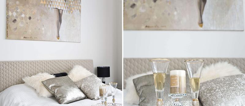 Bardzo elegancka sypialnia w stylu glamour   proj. Miśkiewicz Design