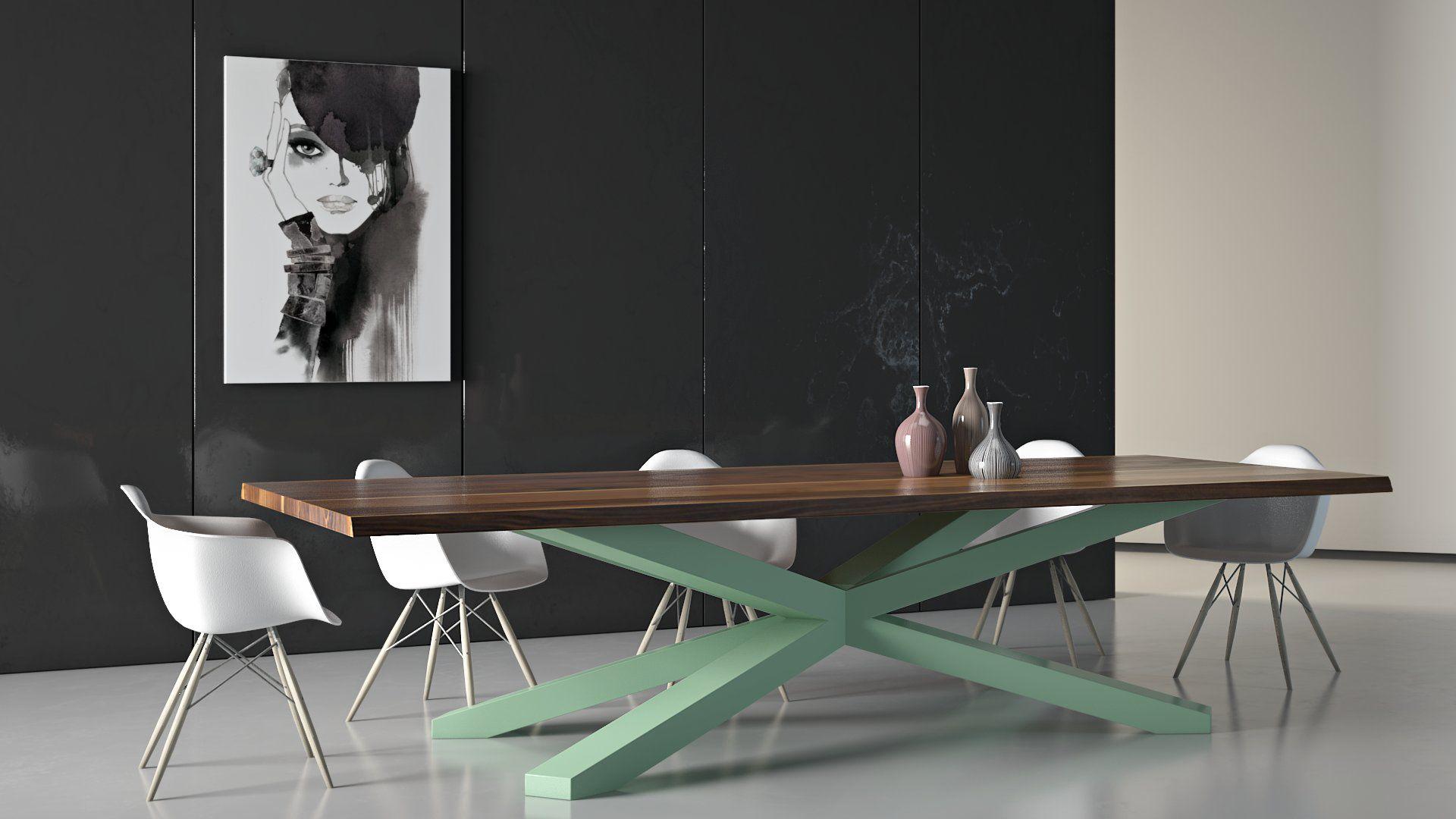 Stół Inspirium z zielonymi nogami
