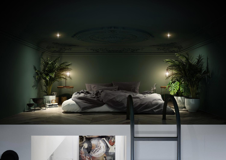 Aranżacja sypialni na antresoli   proj. Home And Wood
