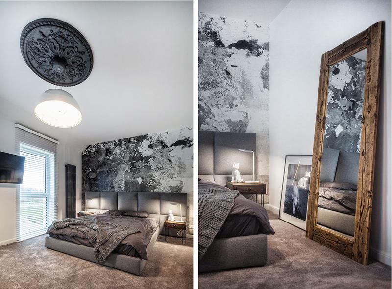 Aranżacja sypialni z tapetą i rozetą na suficie   proj. KK Architekci