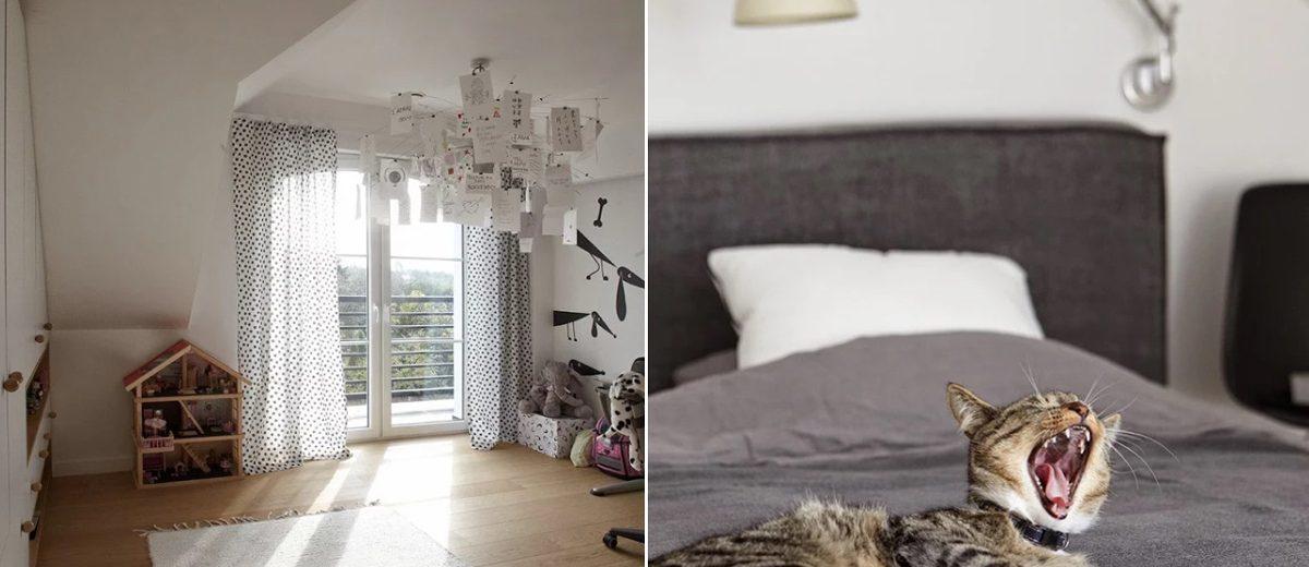 Sypialnia ze słodkim domownikiem, proj. Ev Architects