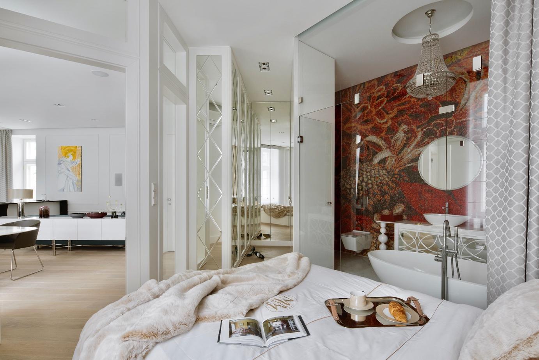 Sypialnia z przeszkloną łazienką | proj. Nasciturus design