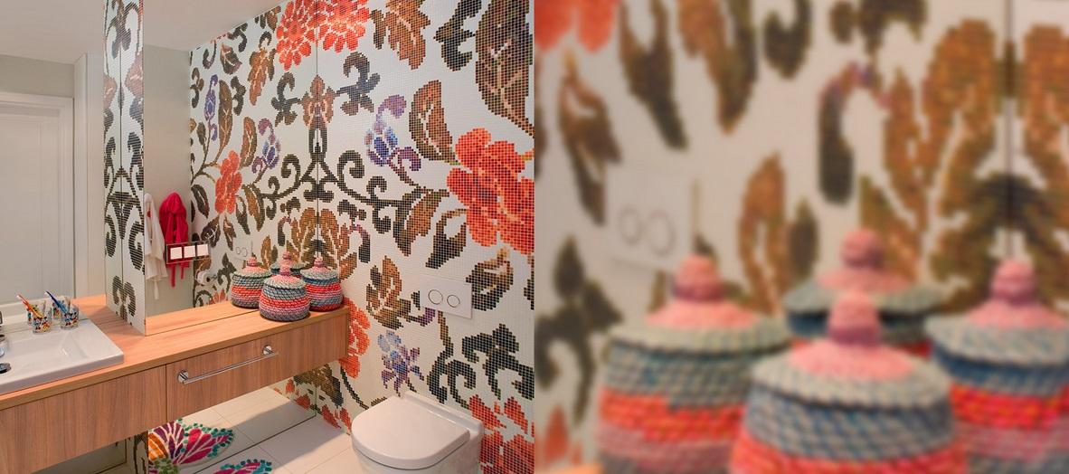 Mozaika w łazience marki Bisazza w projekcie Anny Koszeli (produkt dostępny w naszych salonach)