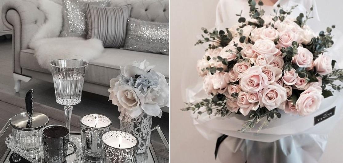 Kwiaty to świetny pomysł na dekorację glamour