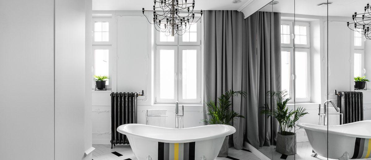 Wanna w stylu retro w łazience w paryskim klimacie | proj. Anna Maria Sokołowska Architektura Wnętrz