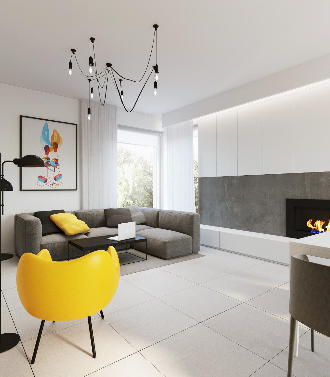 Fotel RM 58 wg. projektu Romana Modzelewskiego w żółtym wybarwieniu wzbogaca swoją formą i kolorem wnętrze
