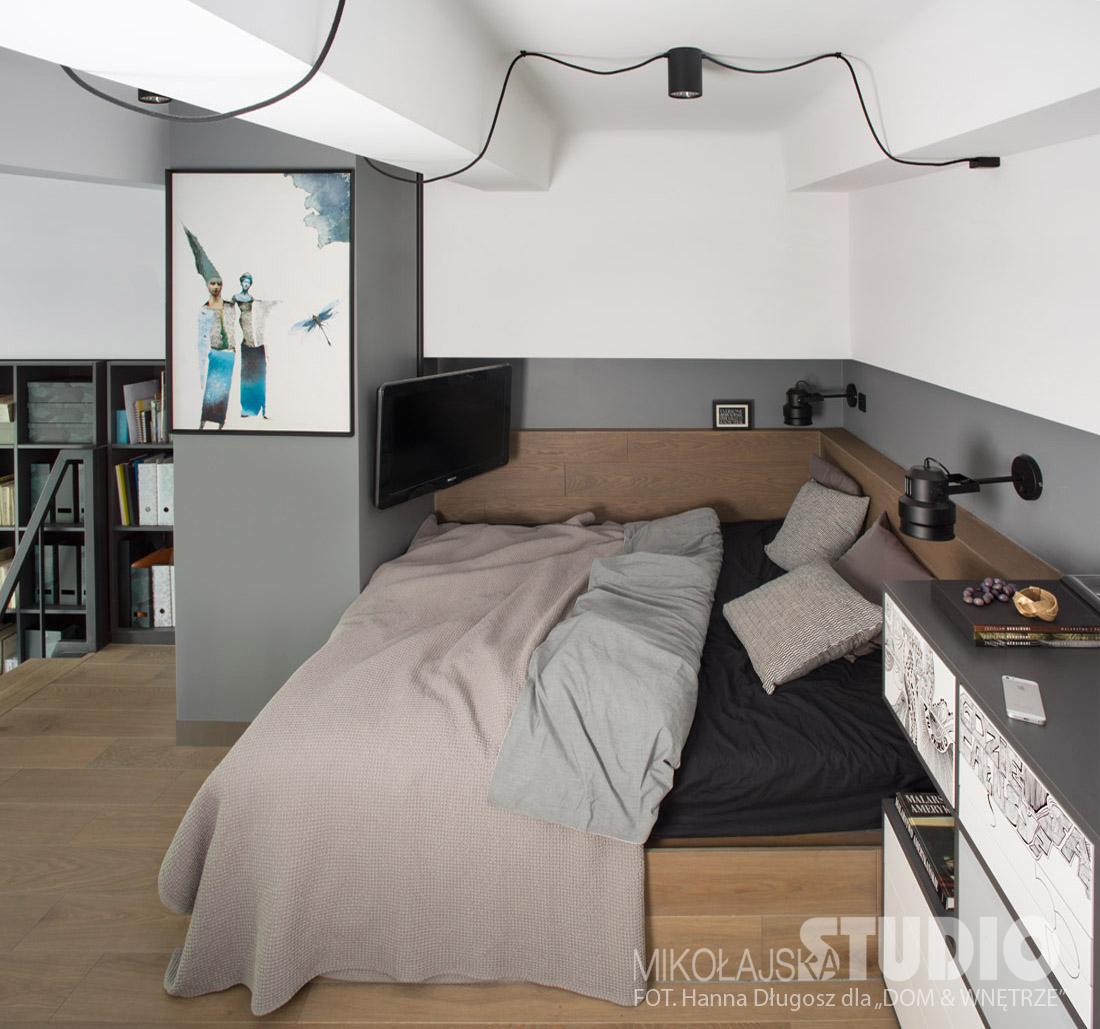 Mini sypialnia na antresoli (proj. Mikołajska Studio)
