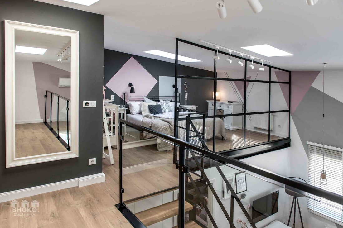 Sypialnia na antresoli w projekcie Shoko Design