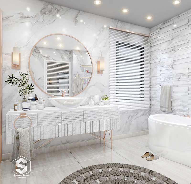 Łazienka z odrobiną glamour