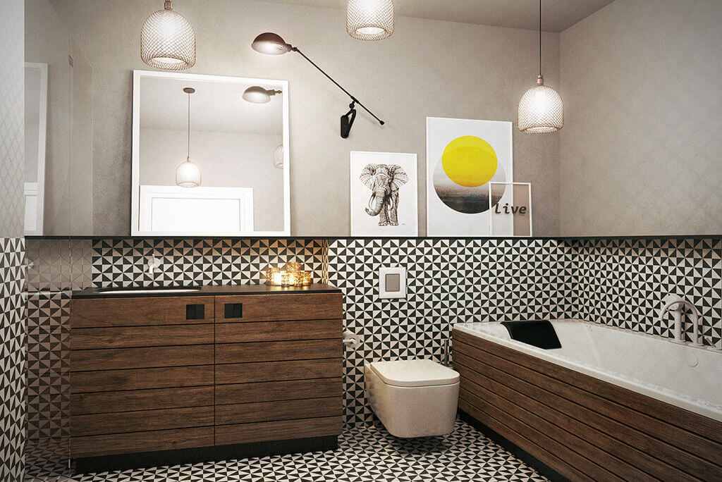 Wzorzyste płytki plus drewno w łazience