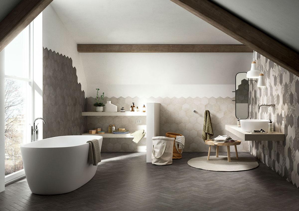 Salon kąpielowy z płytkami heksagonalnymi z kolekcji Clays marki Marazzi - produkt możesz zamówić w naszych showroomach