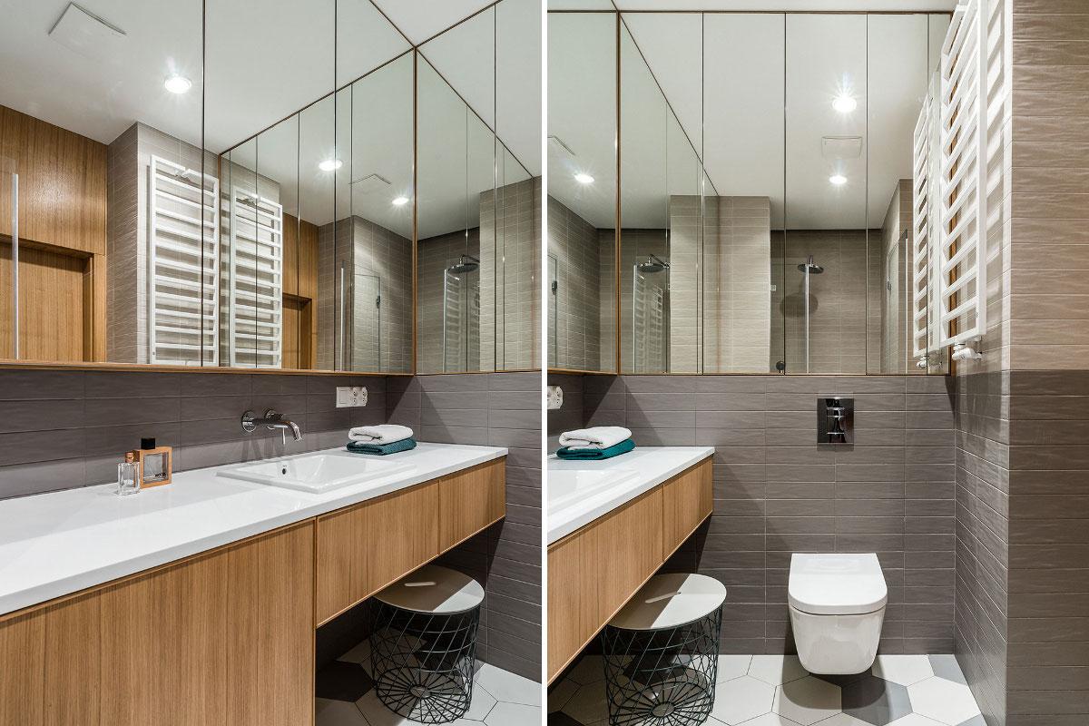 Optyczne powiększenie łazienki i heksagony na podłodze | proj. Anna Maria Sokołowska (zdjęcie: Fotomohito)