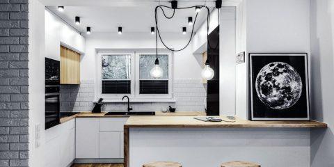 Biało - drewniana kuchnia z półwyspem | proj. BOLD Design