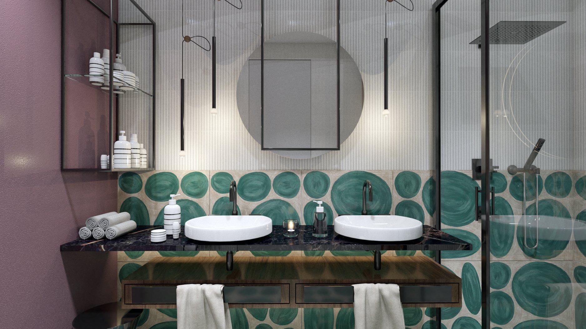 Projekt łazienki Luba Boccardi płytki Ornamenta